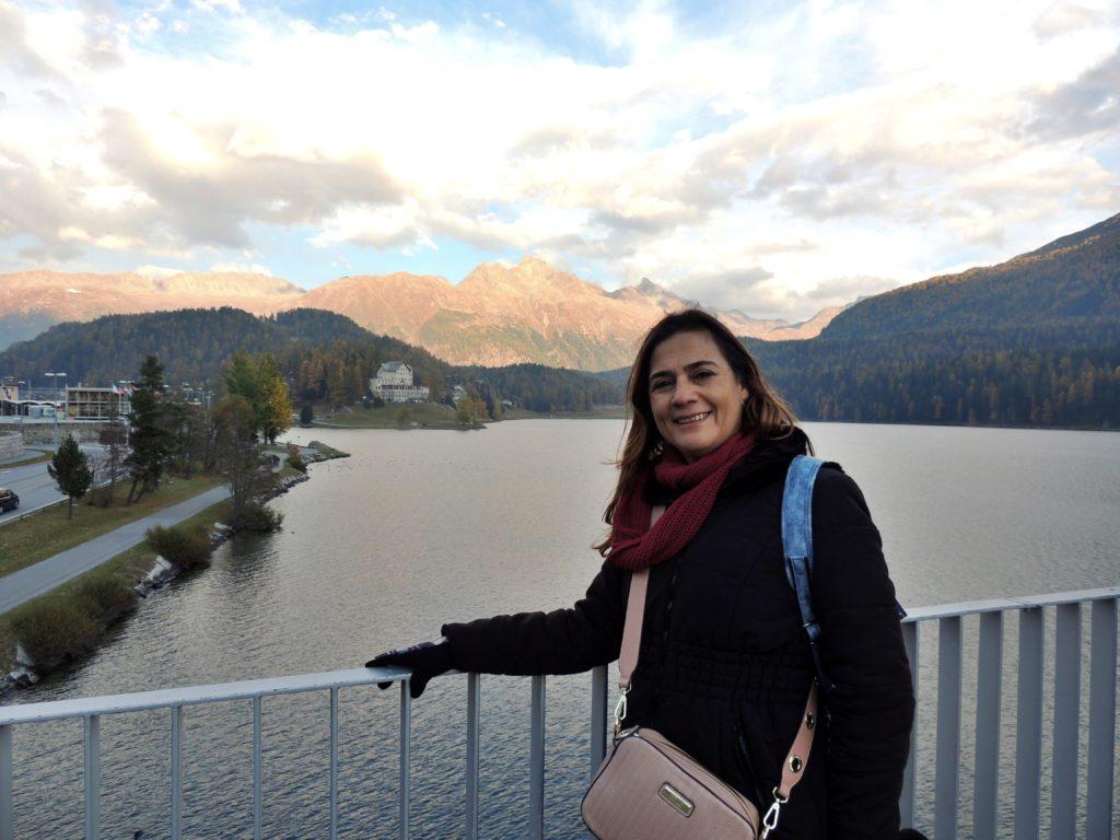 Plataforma sobre o lago de St. Moritz - Suíça