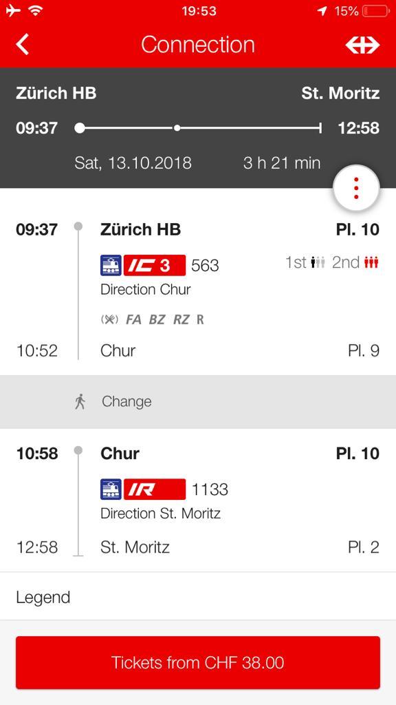 Trem de Zurique a St Moritz