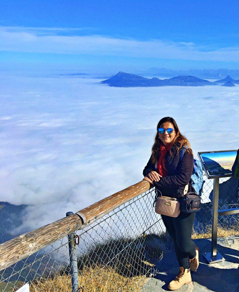 Nas nuvens no Monte Pilatus