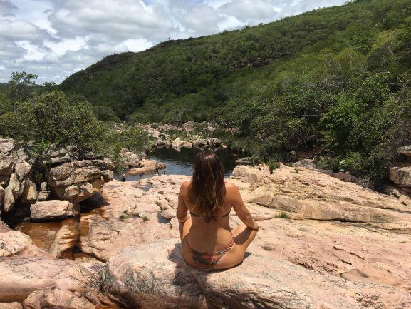 Parte de cima da Cachoeira do Rio Preto - a vista