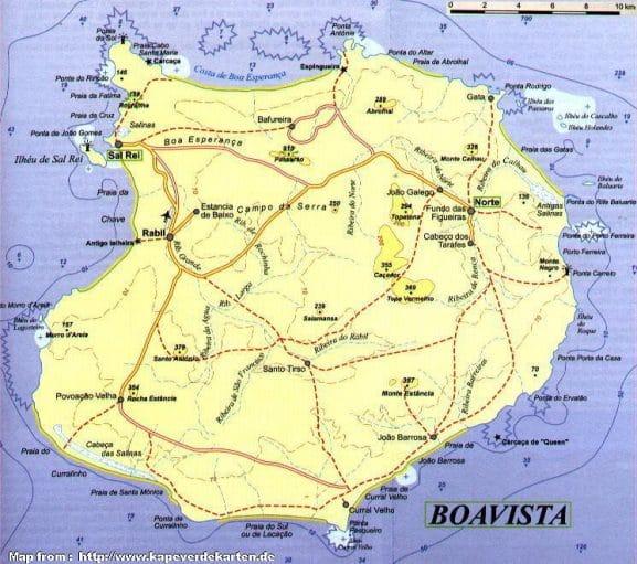 Mapa da Ilha de Boa Vista
