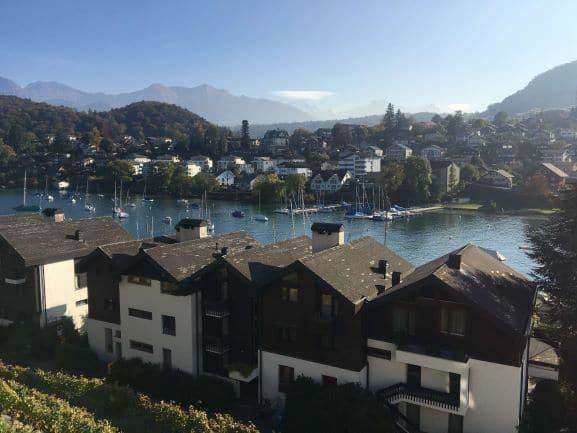 Linda vista da cidade com o lago no meio