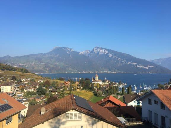 Vista espetacular da cidade, lago, montanhas, museu, videiras e igrejinha