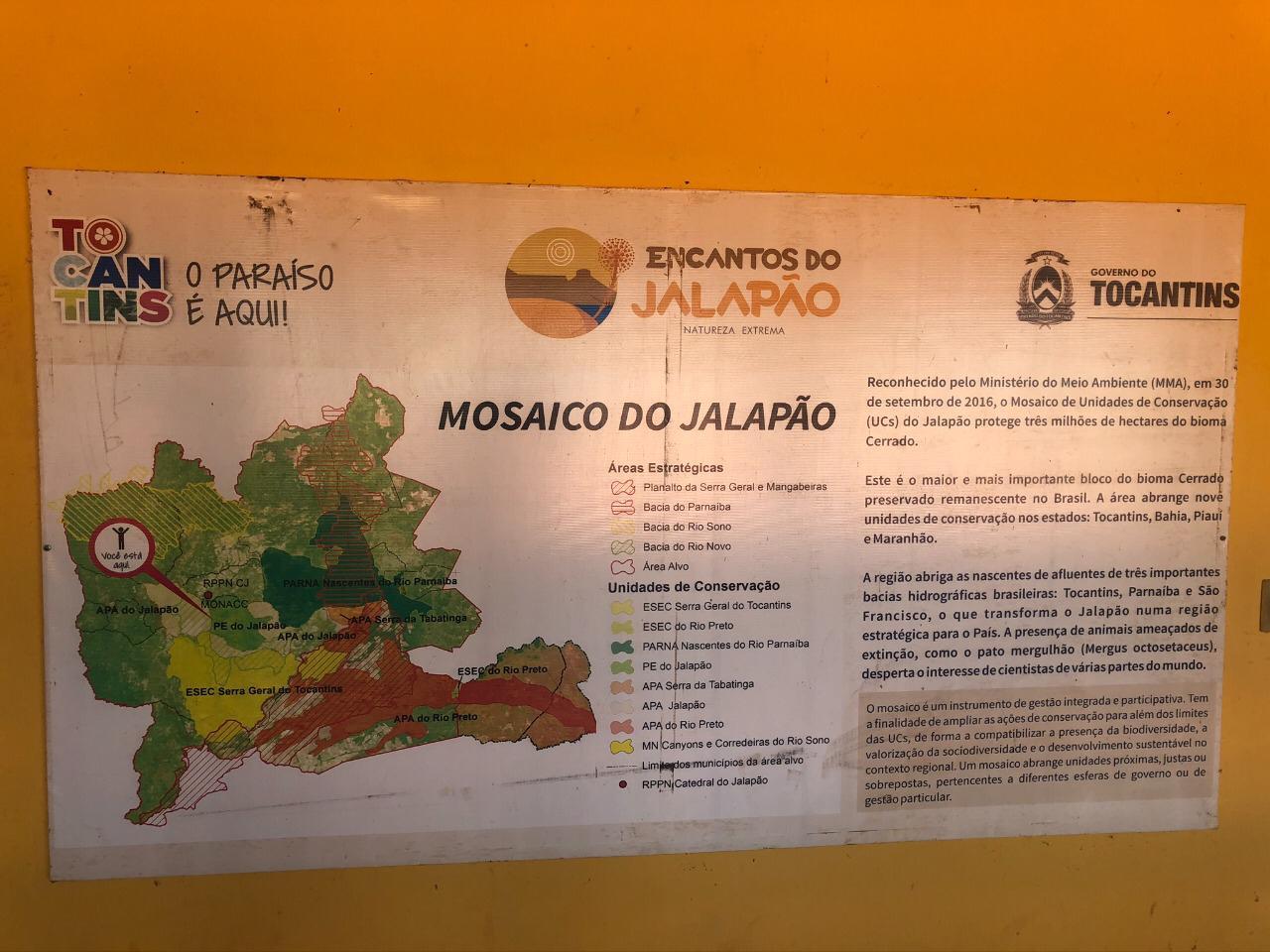 Mapa com Informações sobre os Encantos do Jalapão