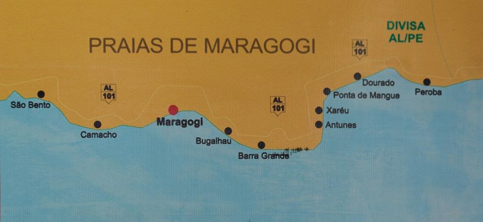 Maragogi Alagoas - O Caribe Brasileiro fica no Nordeste - Mapa das praias do Litoral Norte e Litoral Sul