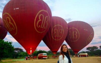 Passeio de balão em Bagan, Myanmar
